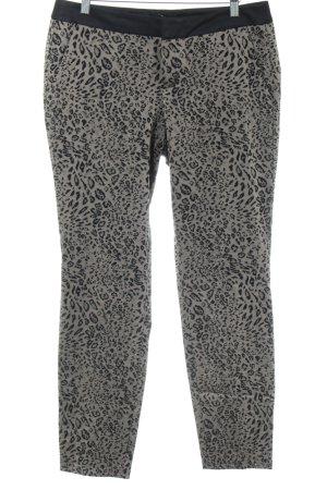 Comma Pantalon de costume blanc cassé-noir motif léopard style décontracté