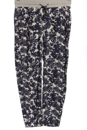 Comma Luźne spodnie w kolorze białej wełny-niebieski Abstrakcyjny wzór