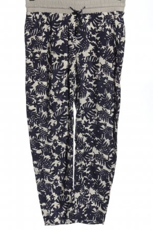 Comma Baggy Pants wollweiß-blau abstraktes Muster Elegant