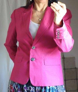 Comma Blazer pink, frische Farbe, tailliert, gefüttert, Revers, Viskose, Baumwolle, hochwertig, Schulterpolster, edel, leichter Stoff Lyocell/ Baumwolle, Futter Acetat, Frühling Sommer aber auch ganzjährig, Business, Freizeit, graue Knöpfe, hervorragender