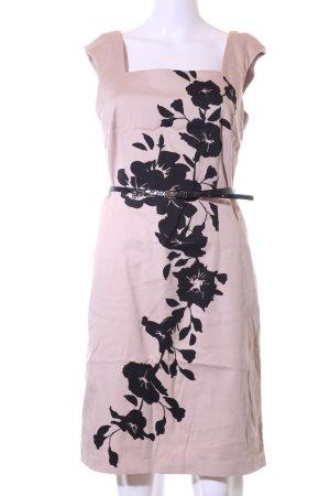 Comma Bleistiftkleid pink-schwarz Blumenmuster Casual-Look