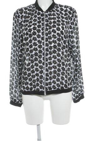 Comma Blouson schwarz-weiß Blumenmuster Casual-Look