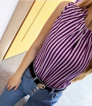 Comma Bluse ärmellos Oberteil Shirt Top elegant chic gestreift gestreifte XS