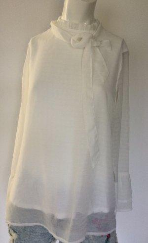 Comma Blusa con lazo blanco
