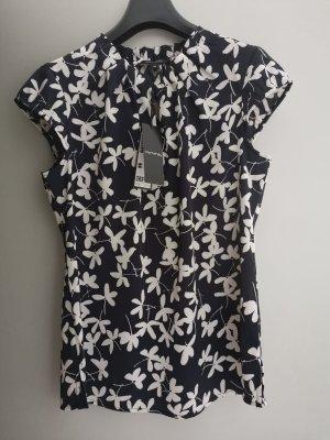 Comma Bluse S 36 NEU Shirt Top marine blau weiß geblümt