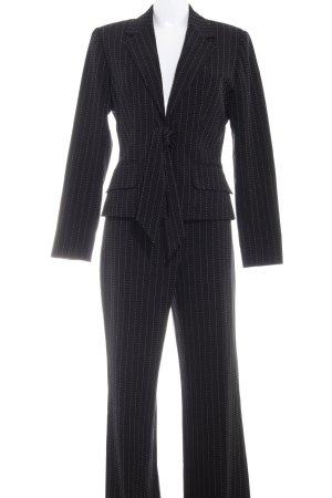 Comma Business-Anzug schwarz-weiß Streifenmuster Business-Look