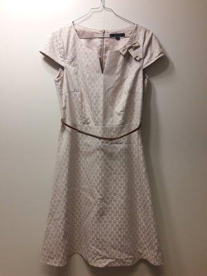 Comma Business Kleid Cocktailkleid beige naturweiß creme mit Gürtel Gr. 36