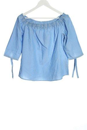 Comma Carmen Blouse blue-white striped pattern casual look
