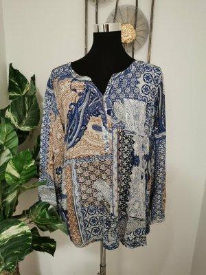Comma Casual Identity Damen Langarm Bluse Orientalisch blau Größe 38