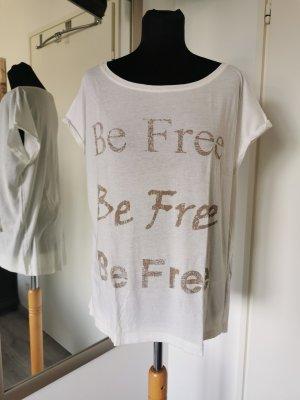 Comma casual identity Shirt mit Schriftzug Gr. 40 Wollweiß