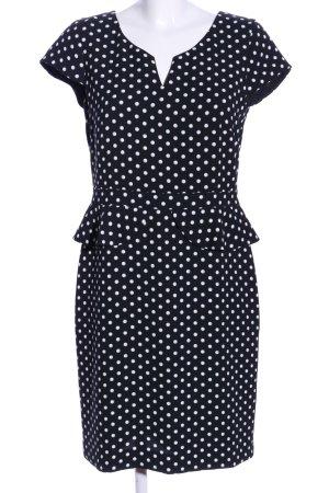 Comma Chiffon jurk zwart-wit gestippeld patroon casual uitstraling