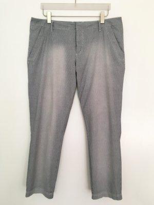 Comma Pantalon chinos gris-blanc coton