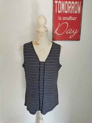 Comma Tanktop wit-donkerblauw Polyester