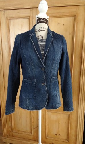 Comma Blazer en jean bleu foncé coton