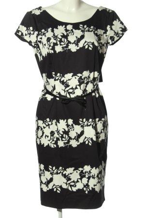Comma Etuikleid schwarz-weiß Blumenmuster Business-Look