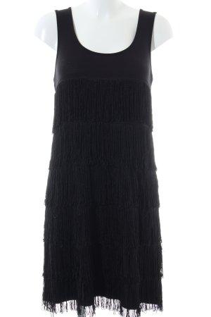 Comma Jurk met franjes zwart zakelijke stijl