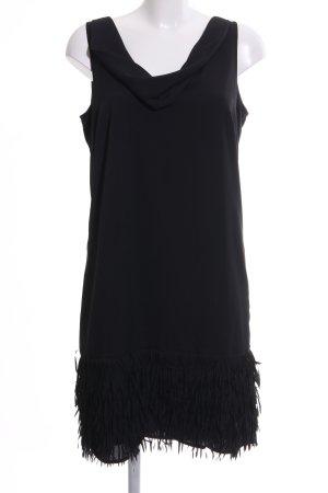 Comma Jurk met franjes zwart elegant