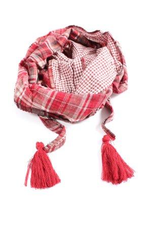 Comma Bufanda de flecos rojo-blanco estampado a cuadros look casual