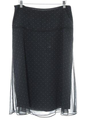 Comma Glockenrock schwarz-wollweiß Punktemuster Casual-Look