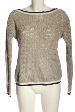 Comma Crochet Sweater cream weave pattern casual look
