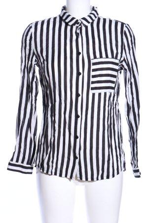 Comma Shirt Blouse white-black allover print business style