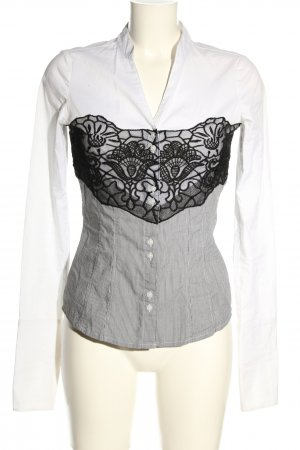 Comma Hemd-Bluse weiß-schwarz grafisches Muster Elegant
