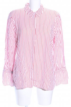 Comma Hemd-Bluse weiß-rot Streifenmuster Business-Look