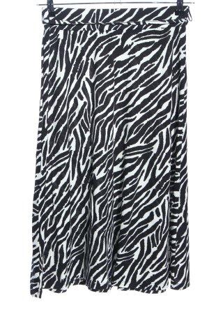 Comma Rok met hoge taille zwart-wit volledige print casual uitstraling
