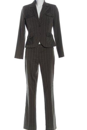 Comma Tailleur-pantalon gris clair motif rayé style d'affaires