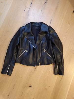 Comma Faux Leather Jacket black-gold-colored