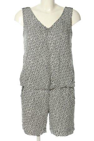 Comma Jumpsuit weiß-schwarz Allover-Druck Casual-Look