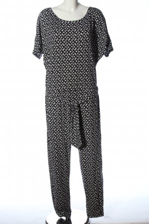 Comma Jumpsuit schwarz-weiß Allover-Druck Casual-Look