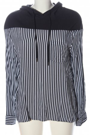 Comma Blusa con capucha blanco-negro estampado a rayas look casual