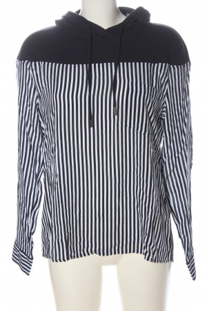 Comma Top à capuche blanc-bleu motif rayé style décontracté