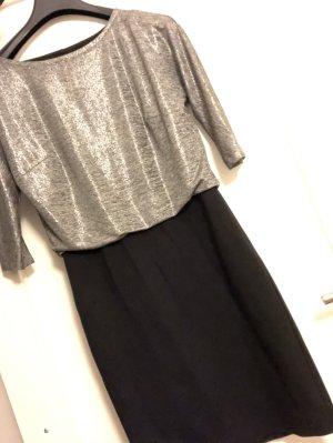 Comma Kleid Minikleid Silber Schwarz wie neu