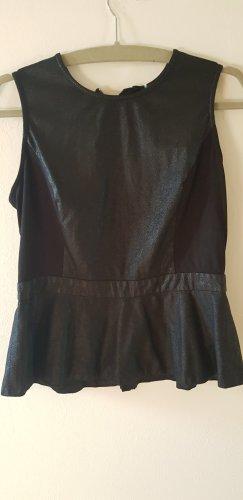 COMMA - Kunstleder Shirt schwarz Gr. M/L