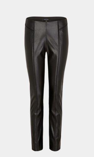 Comma Pantalon en cuir noir