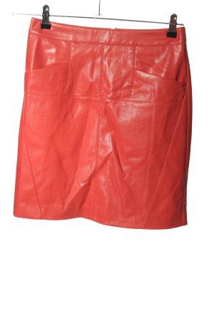 Comma Kunstlederrock rot Casual-Look