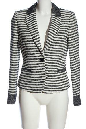 Comma Kurz-Blazer weiß-schwarz Streifenmuster Casual-Look