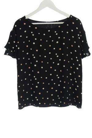 Comma Kurzarm-Bluse schwarz-weiß Punktemuster Casual-Look