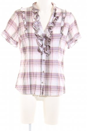 Comma Kurzarm-Bluse Karomuster Casual-Look