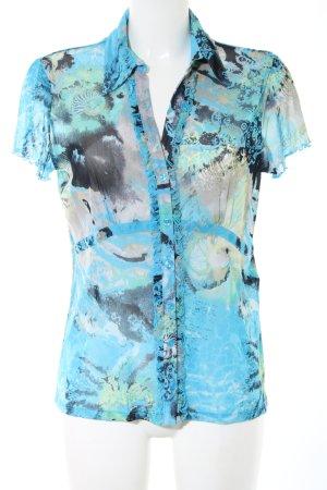 Comma Kurzarm-Bluse blau-schwarz abstraktes Muster Casual-Look