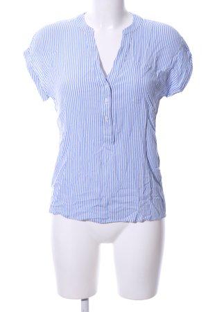 Comma Kurzarm-Bluse blau-weiß Streifenmuster Business-Look