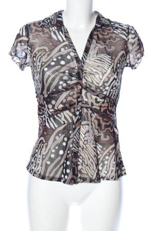 Comma Kurzarm-Bluse bronzefarben abstraktes Muster Casual-Look