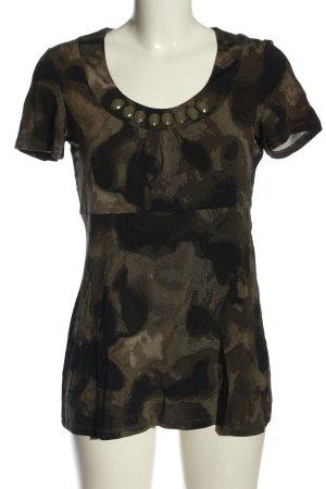 Comma Blusenshirt braun-schwarz abstraktes Muster Casual-Look