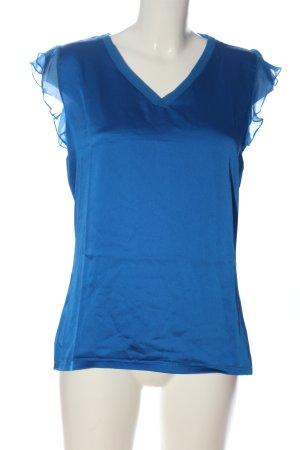 Comma Kurzarm-Bluse blau Casual-Look