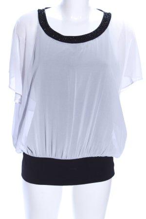 Comma Kurzarm-Bluse weiß-schwarz Casual-Look