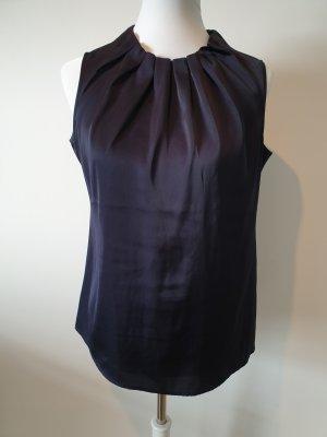 Comma Short Sleeved Blouse dark blue polyester