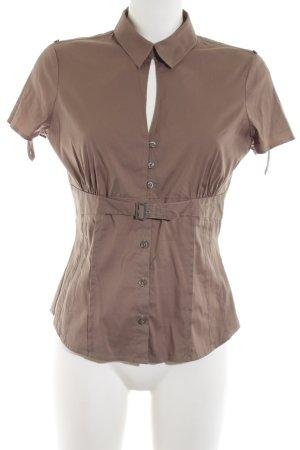 Comma Shirt met korte mouwen bruin zakelijke stijl