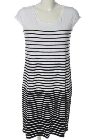 Comma Kurzarmkleid weiß-schwarz Streifenmuster Casual-Look